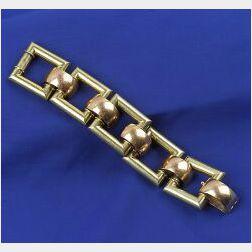 Art Moderne Bi-color 14kt Gold Bracelet