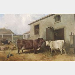Attributed to John Frederick Herring, Junior (British, 1815-1907)    Animated Barnyard Scene with Cows, Pigs, and Fowl.