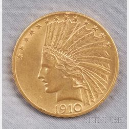 1910 Indian Head Eagle Ten Dollar Gold Coin.     Estimate $500-700