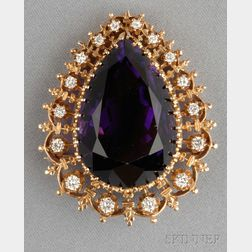 14kt Gold, Amethyst, and Diamond Pendant/Brooch