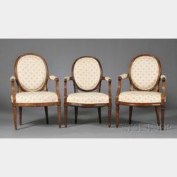 Three Similar Louis XVI Beechwood Fauteuils en Cabriolet