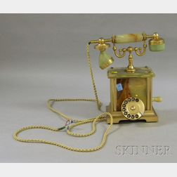 Italian Onyx and Metal Gold Plated Telephone