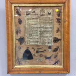 Framed Group of Cock Fighting Accessories and Rules