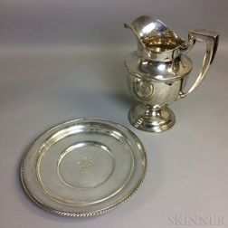 Monogrammed Weidlich Sterling Silver Pitcher and a Gorham Plate
