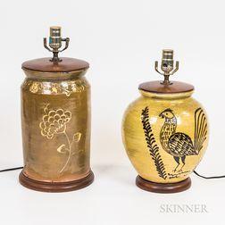 Two Glazed Pottery Jars