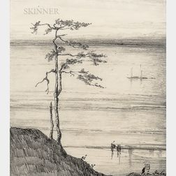 Léon Dabo (American, 1868-1960)      Two Drawings: Riverside Tree