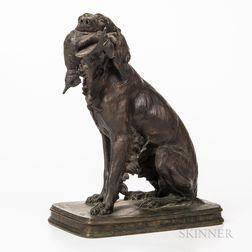 Cast Bronze Setter with Bird Sculpture