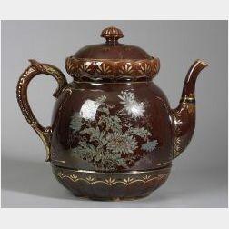 Monumental Brown Glazed Pottery Teapot