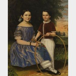 Attributed to John Carlin (New York City, 1813-1891) Portrait of Ellen F. (b. 1839) and Her Brother George Lemuel Clark (1845-1851), Ne