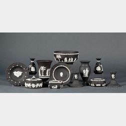 Twelve Modern Wedgwood Solid Black Jasper Items