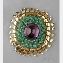 18kt Gold, Amethyst, and Emerald Brooch