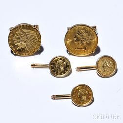 Gentlemans Gold Coin-mounted Dress Set, comprising a pair of cuff links and three shirt studs, each with an American gold coin, 14kt g
