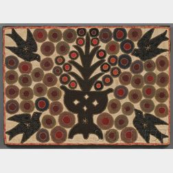 Pieced and Appliqued Wool and Linen Penny Rug