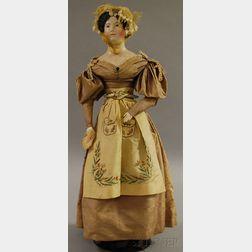 German Papier-mâché Shoulder Head Doll