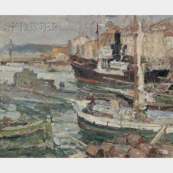 Harry Aiken Vincent  (American, 1864-1931)      Fishing Boats at Harbor