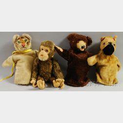 Four Steiff-type Mohair and Cloth Toys