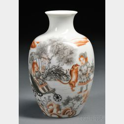 Grisaille and Coral Red Vase