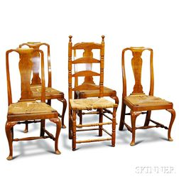Set of Four Queen Anne-style Walnut Side Chairs and Ladder-back Chair