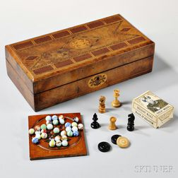 Burlwood Veneer Inlaid Cribbage Board/Game Box