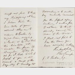 Emerson, Ralph Waldo (1803-1882) Autograph Letter Signed, 24 October 1867.