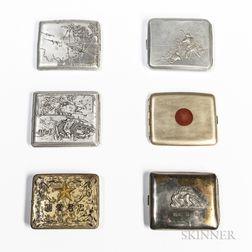 Six Japanese World War II Cigarette Cases