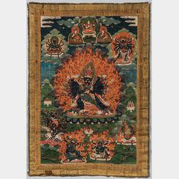 Thangka Depicting Multi-armed Vajrabhairava