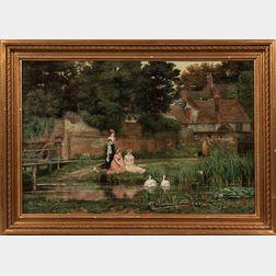 Arthur Longley Vernon (British, 1841-1922)      Feeding Swans