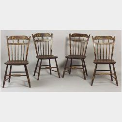 Set of Four Paint Decorated Windsor Side chairs