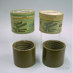 Two Edison Brown Wax Concert Phonograph Cylinders