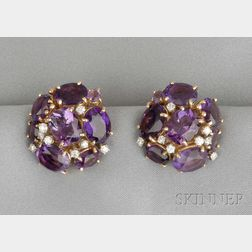 14kt Gold, Amethyst, and Diamond Earclips