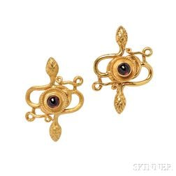22kt Gold and Cabochon Garnet Earclips, Zolotas