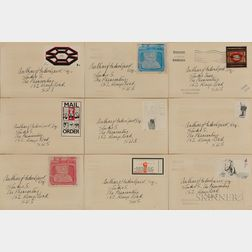 Nine Culture Carriers - Stamp Out Art Project Envelopes: Derek Boshier (British, b. 1937), Octagon; David Hockney (British, b. 1937), T