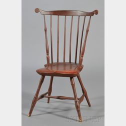 Red-painted Windsor Carved Fan Back Side Chair
