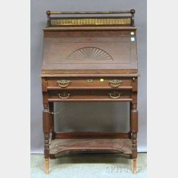 R.J. Horner & Co. Late Victorian Brass-mounted Carved Cherry Lady's Slant-lid   Writing Desk