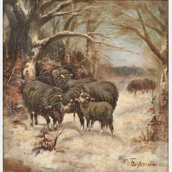Nellie Pairpoint (American, act. 1897-1914)      Sheep Foraging in Snow