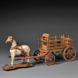 Hide-covered Horse and Wagon Child's Pull-toy