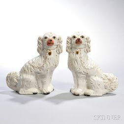 Pair of Staffordshire King Charles Spaniel Figures