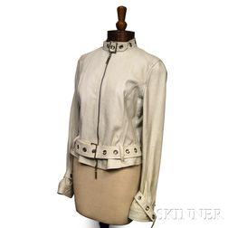 Versace White Leather Jacket