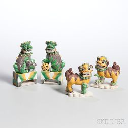 Two Pairs of Sancai Glazed Miniature Foo Lions