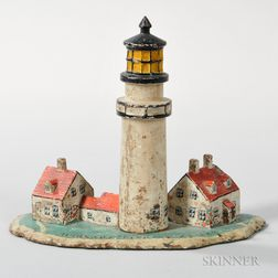 Cast Iron and Paint-decorated Highland Light Cape Cod Doorstop