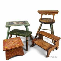 Five Paint-decorated Stools and a Set of Tiger Maple Bed Steps.