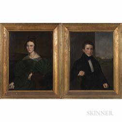 Attributed to Samuel Lovett Waldo (New York, 1783-1861) and William Smith Jewett (1821-1873), Portraits of Mr. Ezra (1809-1901) and Mrs