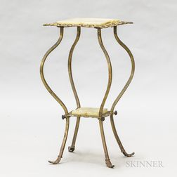 Rococo Revival Gold-painted Metal and Stone Side Table