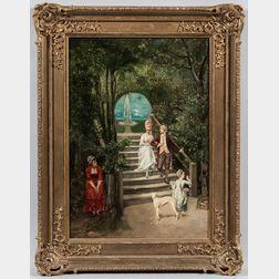 Ludwig Minnigerode (Austrian, 1847-1930)      Figures in a Garden