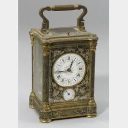 Aesthetic Movement Engraved and Patinated Bronze Carriage Clock