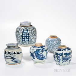 Five Blue and White Ginger Jars
