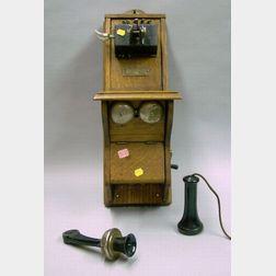 North Electric Company Oak Wall Mounted Magneto Telephone