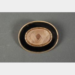 Gold and Hairwork Memorial Brooch, with Civil War Correspondence Letters