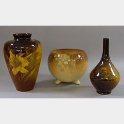 Cambridge Art Pottery Vase, a J.B. Owens Utopian Bottle Vase, and a Weller Pottery Jardiniere.