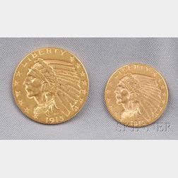 Two Indian Head Gold Coins